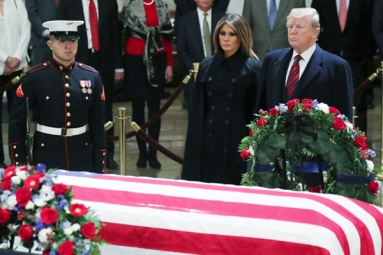 Trumps Pay Last Respect to Late President Bush at U.S. Capitol
